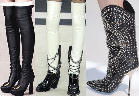 Модные сапоги осень-зима 2013-2014 - фото:Alexander McQueen, кожаные чулки с ботинками Chanel...
